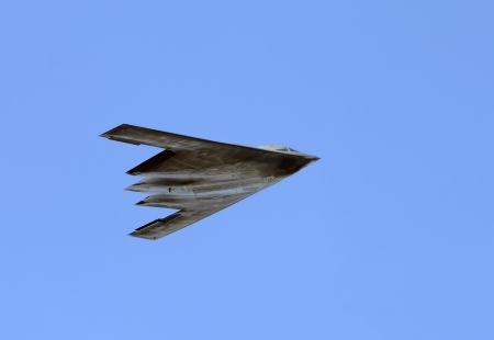 Modern US stealth bomber in flight