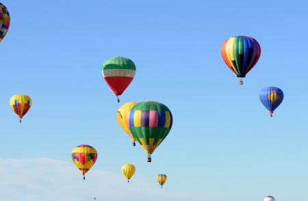 air: Colorful hot air balloons in flight