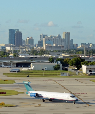 Airport and skyline view of Fort Lauderdale, Florida