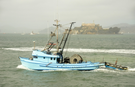 commercial fishing: Commercial fishing trawler in the San Francisco Bay area
