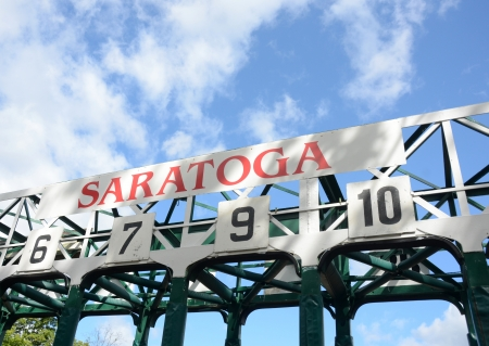 Horse race track gates in Saratoga