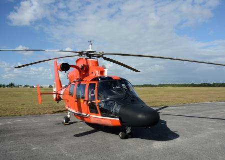 Modern Coast Guard helicopter resting between flights Publikacyjne