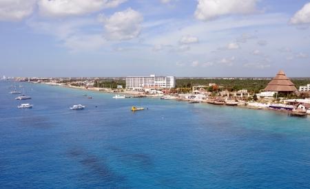 Luchtfoto van de kust van Cozumel, Mexico Stockfoto