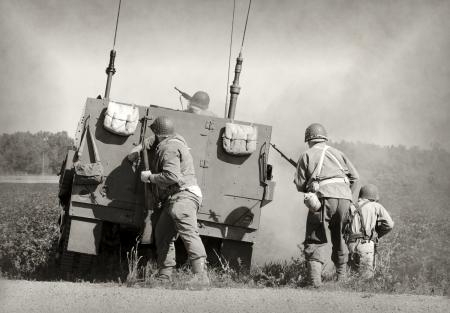 old world: Soldiers in World War II era battle