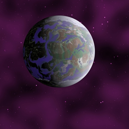 Distant planet with continents and oceans against dark space