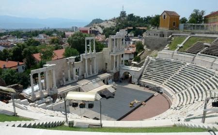 Antiek Romeins theater op een heuvel in Plovdiv, Bulgarije