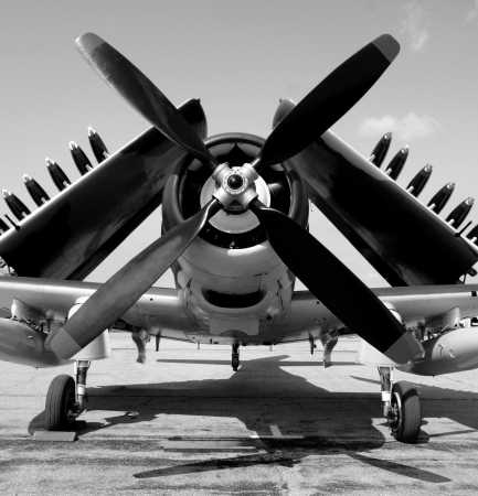 World War II era navy fighter plane with folded wings photo