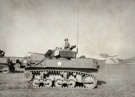 World war 2: World War II era American tank in battle Editorial