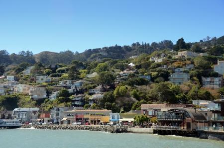 quaint: Colorful waterfront promenade in Sausalito, near San Francisco, California