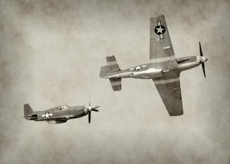 Tweede Wereldoorlog vechter vliegtuigen tijdens de vlucht Redactioneel