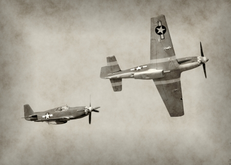 airforce: World War II fighter airplanes in flight Editorial