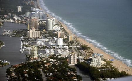 Coastline scenery from Fort Lauderdale, Florida aerial view photo