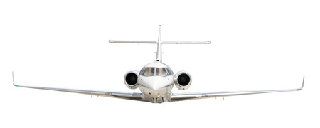 front view: Modern corporate jet front view isolated on white