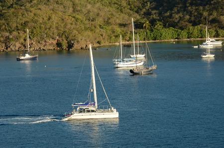 anchoring: Boats near St Thomas, US Virgin Islands in the Caribbean Stock Photo