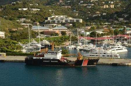 guard ship: Coast Guard ship near the island of St Thomas, US Virgin Islands