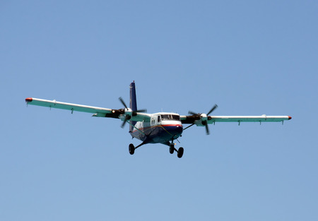 Modern turboprop airplane approach for landing