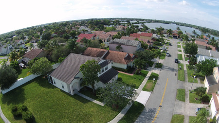 suburban neighborhood: Suburban neighborhood in Florida aerial view