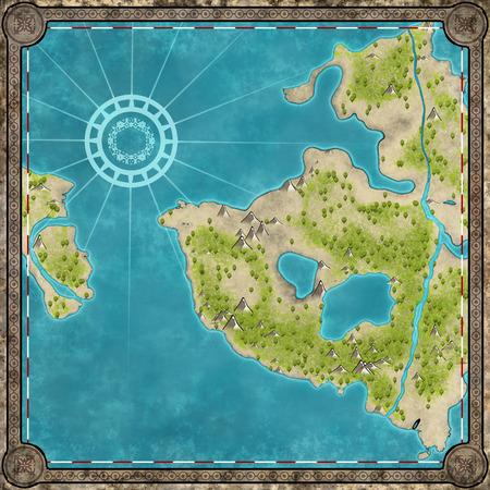 Antieke hand getekende vierkante kaart van het eiland