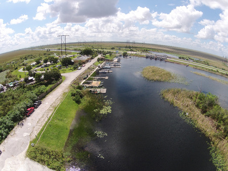 Aerial view of Florida Everglades waterway and boat ramp