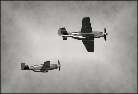 world war two: World War II era fighter planes on a mission