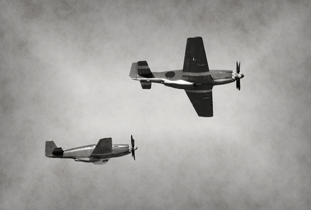 World War II era fighter planes on a mission