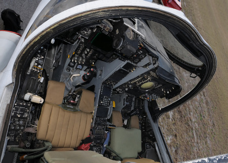 Navy jetfighter cockpit seen from above