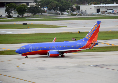 Fort Lauderdale, USA - July 21, 2013: Southwest Airlines Boeing 737 passenger jet departs from Fort lauderdale, Florida on July 21, 2013. Southwest is the largest doemstic carrier in the USA