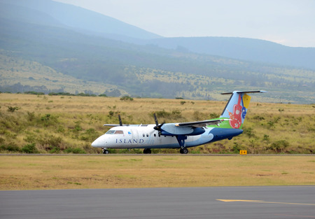 scheduled: Maui, USA - March 22, 2013: Island Air regional flight departs from Lahaina, Maui to Honolulu. Island Air connects numerous islands within Hawaii with scheduled and charter flights