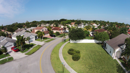 Suburban street in Florida Stock Photo