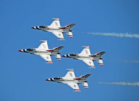 Fort Lauderdale, Florida - May 5, 2007: US Air Force Thunderbirds aerobatic team performing at the Air and Sea Show in Fort Lauderdale, Florida. The Thunderbrds display the best of USAF's pilot skills