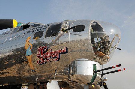 world war two: Ypsilanti, Michigan: August 8, 2010: World War II era Flying Fortress nose art. The aircraft is a 1944 Boeing B-17G CN 44-83514 Sentimental Journey operated by the Arizona Wing of the Commemorative Air Force. The aircraft tours the country throughout t Editorial