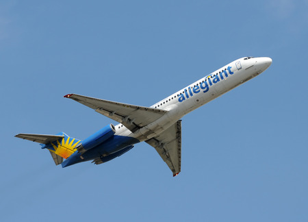 jetliner: Fort Lauderdale, Florida - June 1, 2008: Allegiant Air MD-88 jet taking off. Allegiant Air is a fast growing US airline specializing in popular vacation destinations