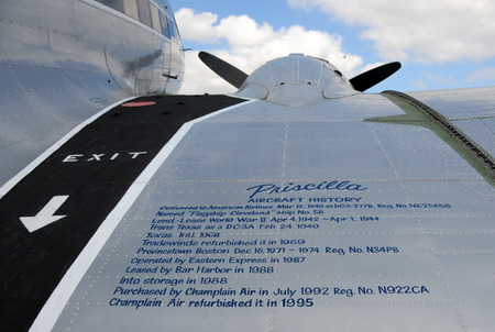 subsequently: Miami, Florida - December 21, 2008: Vintage propeller DC-3 airplane named Priscilla with the airplane history on the wing. This aircraft was subsequently sold to a new owner in 2009 Editorial