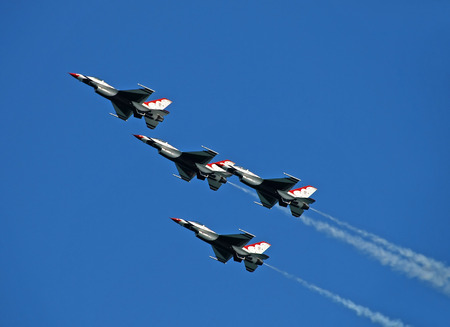 Fort Lauderdale, USA - May 5; 2007: US Air Force Thunderbirds aerobatic team performing at the Air and Sea Show in Fort Lauderdale; Florida. The Thunderbrds display the best of USAFs pilot skills