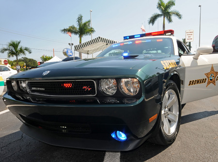challenger: Fort Lauderdale, USA - October 2, 2010: Broward County Sheriff Department Dodge Challenger interceptor car. The police departmen uses these vehicles to fight crime in South Florida Editorial