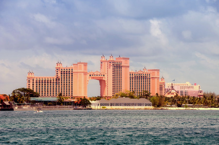 Nassaur, Bahamas - July 19, 2008: Luxurious Atlantis Resort in Paradise Island, Nassau as seen from the water. Its a popular destination for the rich and famous Redakční