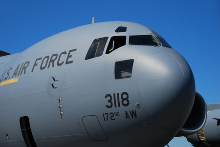 unspecified: Miami, USA - March 17, 2007: US Air Force C-17A GLobemaster cargo jet visits Miami during unspecified mission. The C-17 Globemaster is the primary heavy cargo transport used by the Air Force Editorial
