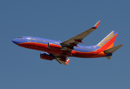 Fort Lauderdale, USA - January 29, 2011: Southwest Airlines passenger jet taking off from Fort Lauderdale Hollywood International Airport. Southwest has a uniform fleet of Boeing 737 jet aircraft Editorial