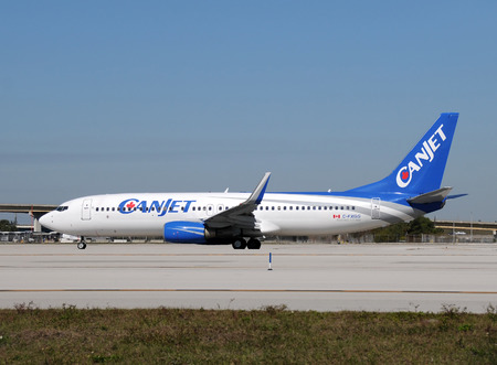 Fort Lauderdale, USA - January 29, 2011: Canjet passenger airplane preparing for takeoff from Fort Lauderdale, Florida. The airline offers affordable fares to florida from major Canadian cities.