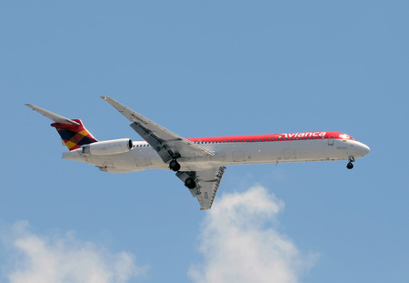 jetliner: Miami, USA - June 21, 2008: Avianca passenger jet arriving at Miami International. Avianca provides a number of daily flights between Colombia and US destinations