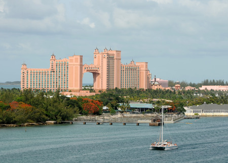 Nassau, Bahamas - July 19, 2008: Luxurious Atlantis Resort in Paradise Island, Nassau as seen from the water. Its a popular destination for the rich and famous