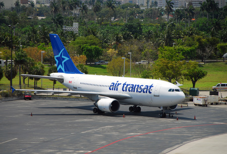Fort Lauderdale, USA - April 27, 2007: Air Transat passenger jet preparing for departude from Fort Lauderdale. Air Transat offers passenger service between Canada and Florida using Airbus A-310 jets