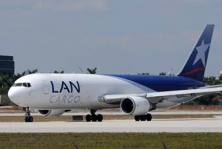 departing: Miami, USA - January 30, 2011: LAN Chile cargo jet departing from Miami International Airport. LAN Chile provides cargo service to numerous destinations in Central and South America Editorial