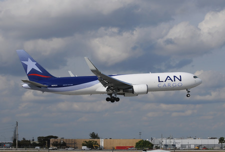 jetliner: Miami, USA - January 30, 2011: LAN Cargo jetliner landing at Miami International Airport. LAN is an airline providing cargo service between the USA and many destinations in Central and South America