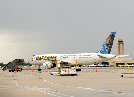 Fort lauderdale, USA - April 16, 2011: Iron maidens signature paint scheme airplane visits Fort lauderdale as part of the bands World Tour 2011. The uniquely painted airplane has become a part of the bands image known as Ed Force One.