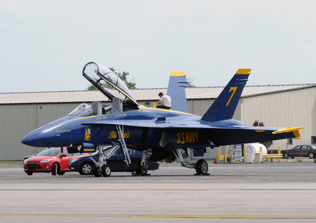 f18: Detroit, USA - July 24, 2011: US Navys Blue Angels jet airplane prepares for practice flight before the annual Thunder over Michigan airshow Editorial