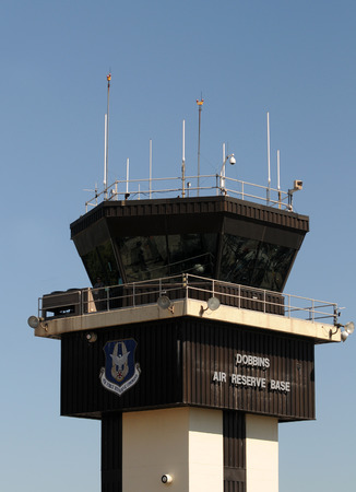 air traffic: Atlanta, USA - October 17, 2010: Air traffic control tower at Dobbins Air Reserve base, Atlanta, Georgia. Dobbins ARB is the home of several military and air force units Editorial