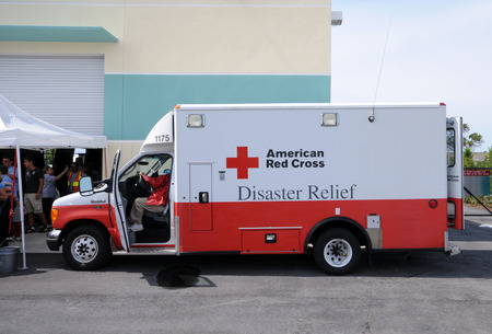 forthcoming: Fort Lauderdale, USA - May 6, 2011: American Red Cross hurricane relief truck meeting the public before the start of the 2011 hurricane season. Various organization attend public events to create awareness of the forthcoming hurricane season