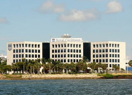Miami, USA - September 11, 2011: Royal Caribbean Cruise Lines corporate headquarters building in Miami. The cruise line operates a fleet of 38 cruise ships under different brand names