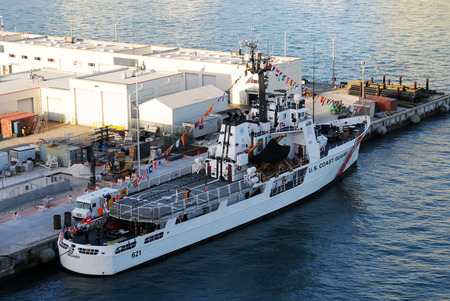 guard ship: Miami, USA - December 11, 2010: US Coast Guard ship Valiant returning from patrol. USCGS Valiant is a multi purpose cutter with home port of Miami Beach, Florida